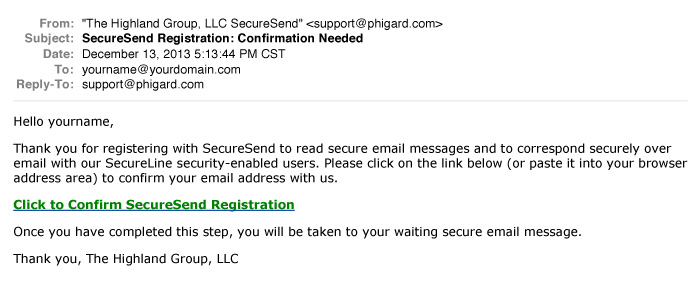 SecureSend Confirmation