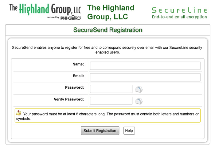 SecureSend Registration