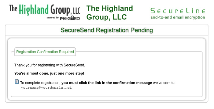 SecureSend Registration Pending