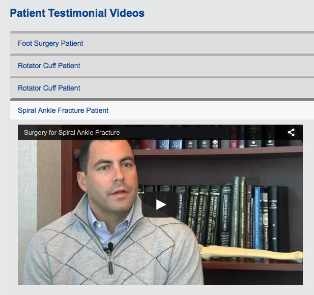medical website patient testimonial